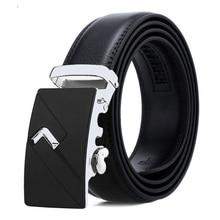 FRALU Brand Fashion Automatic Buckle Black Genuine Leather Belt Men's Belts Cow Leather