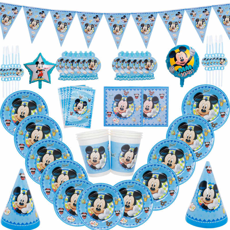 Mickey Mouse Party Cartoon Disposable Tableware Disney Plate Tissue Theme Birthday Party Christmas Decoration