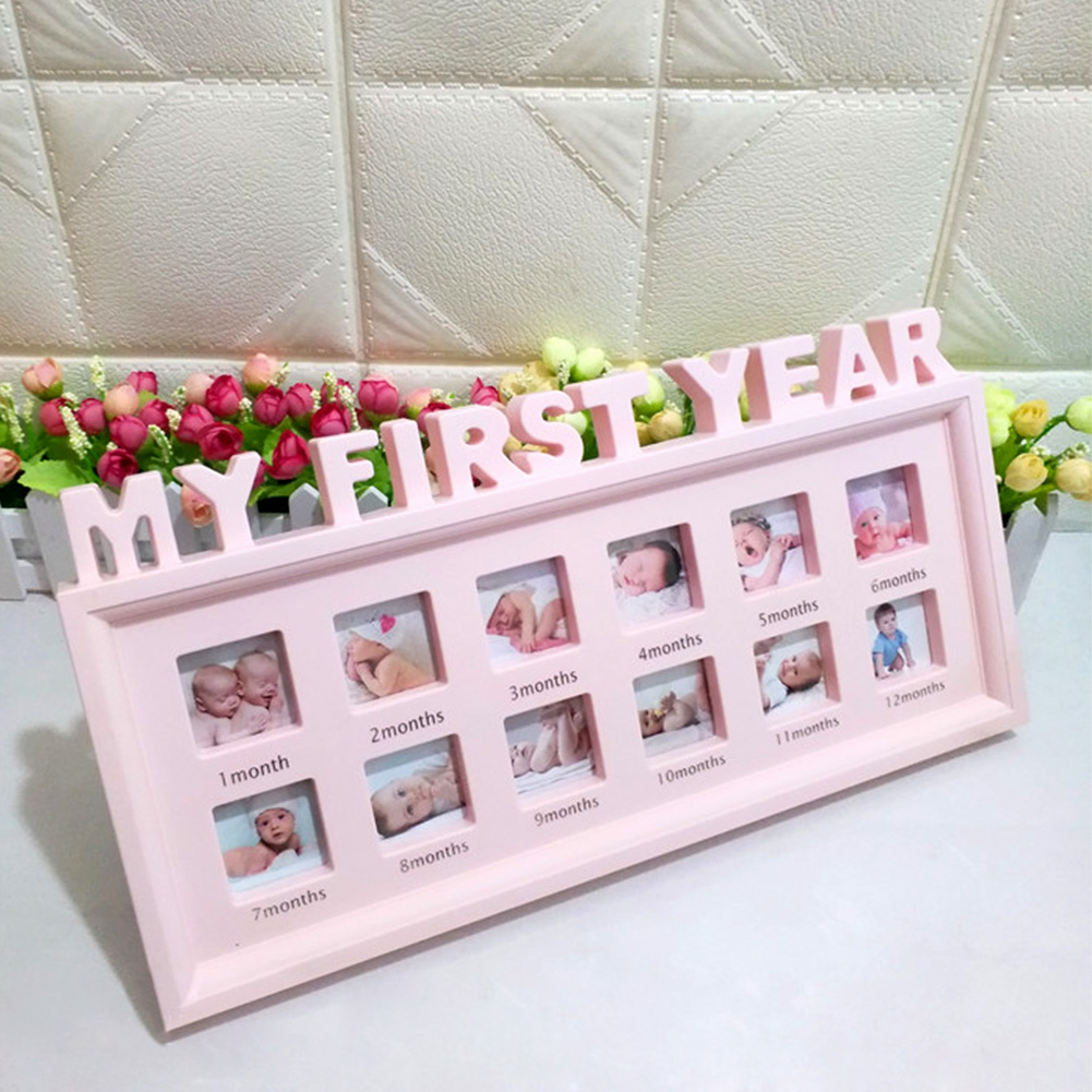 12 Months Show Newborn Baby Moments Girls Boys Infant Photo Frame Ornaments My First Year Display Multifunctional Picture PVC