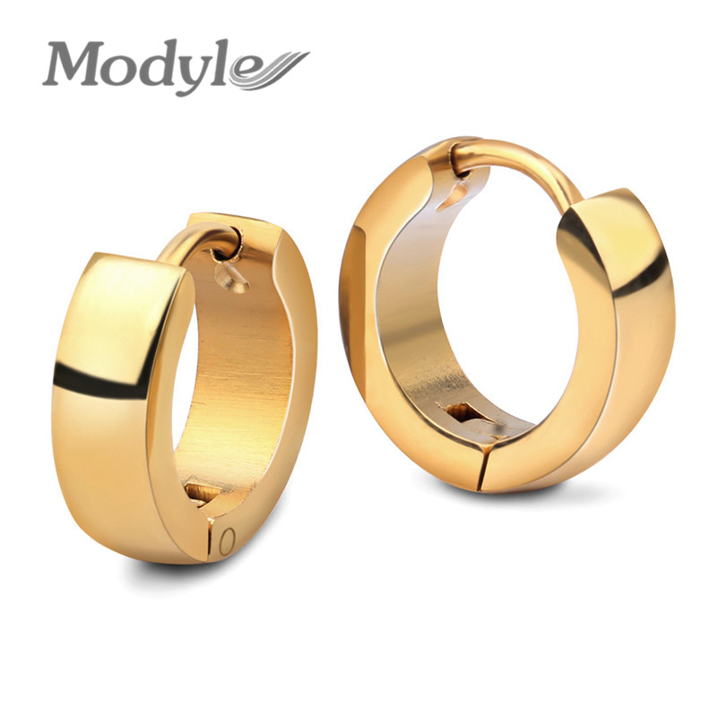 Modyle Punk Gold Color Stainless Steel Stud Earrings Simple Style Circle Hoop Earring Fashion Earrings for Women Man Jewelry