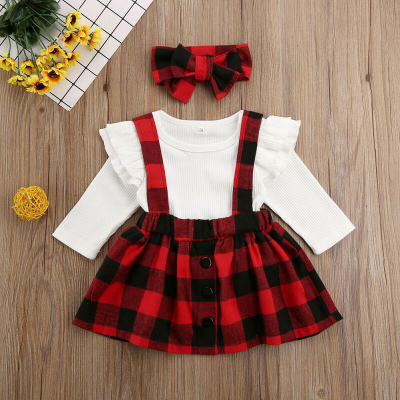 Infant Baby Girl Clothes Knitted Romper Ruffle Long Sleeve Tops Plaids <font><b>Bib</b></font> <font><b>Skirt</b></font> Headband 3PCS Xmas Party Outfit Suit image