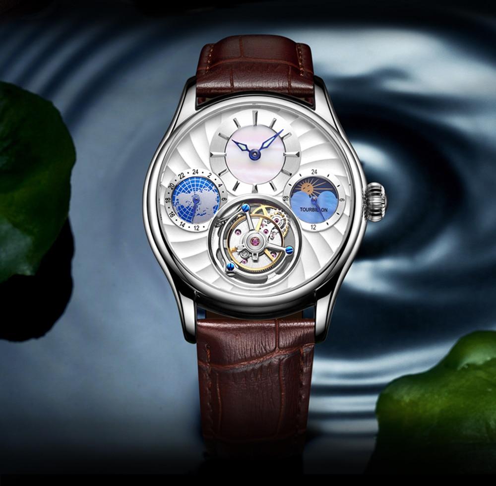 Original Tourbillon watch GUANQIN 2019 NEW clock men waterproof mechanical Sapphire leather top brand luxury Relogio Masculino 18