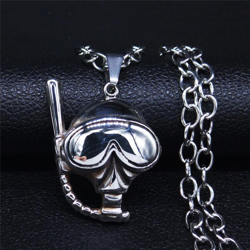 Tauchermaske mit Schorchel Edelstahl Lange Halskette für Männer und Frauen