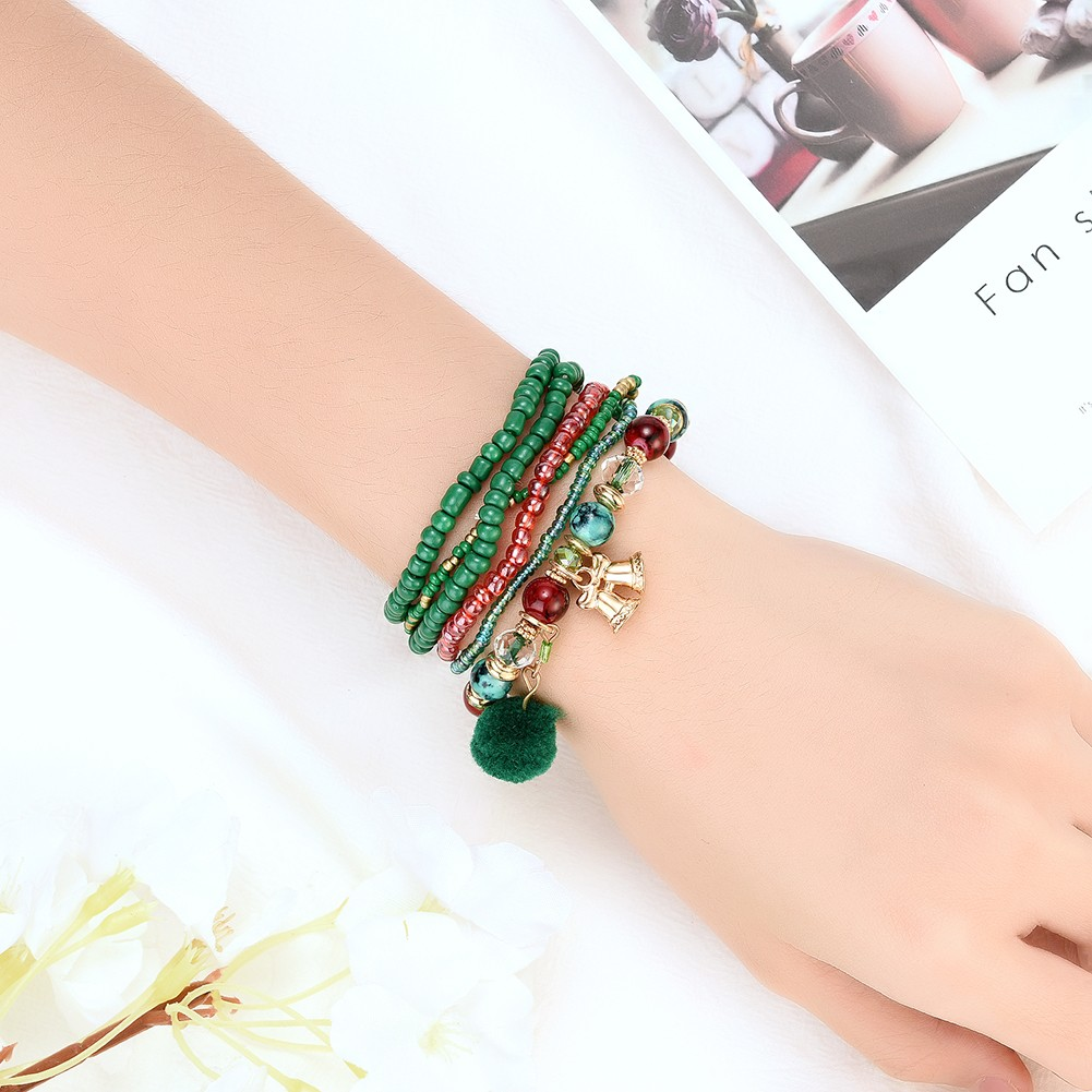Gofuly Christmas Style Resin Bracelet Stacked Wide Multilayer Stack Bracelet Bohemia Style Weave Rope Friendship Bracelets