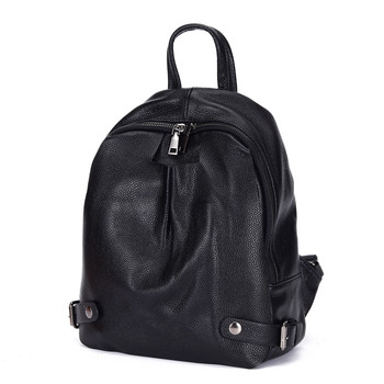 MESOUL Brand Black Backpack Women Genuine Leather Shoulder Bag Fashion Student School Bags For Girl Female Travel Bags Mochilas joyir women backpack genuine leather fashion travel backpack mochilas school leather shopping travel bags schoolbags for girls
