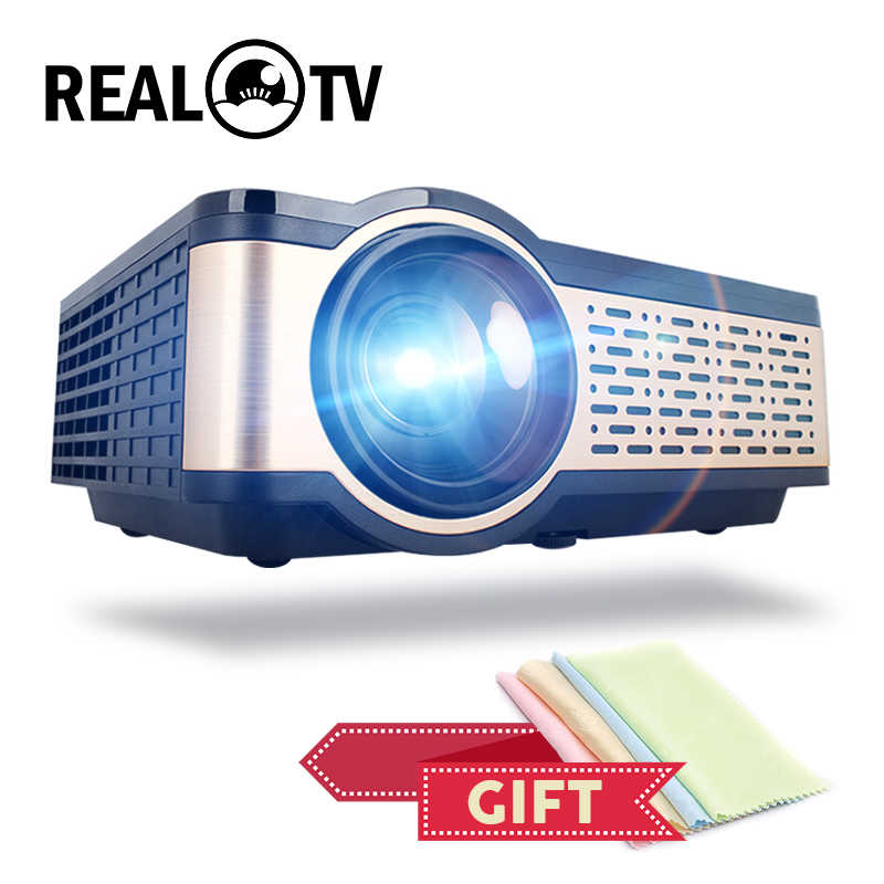 Real tv w5 hd lcd mini projetor 4000 lumens android wifi bluetooth cinema portátil suporte 1080p hdmi usb vga airplay com presente