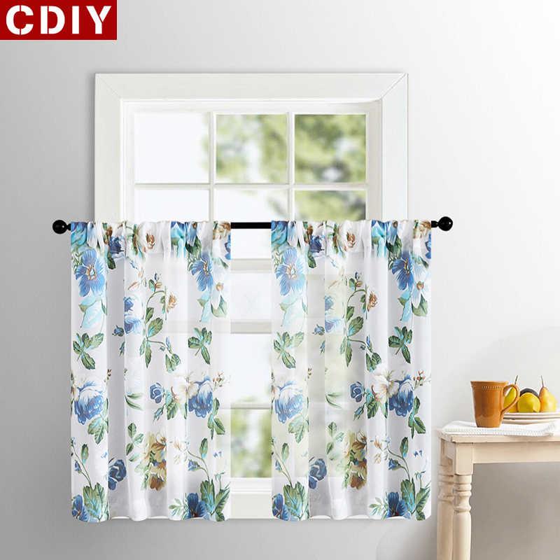 CDIY Floral Kurze Vorhänge Für Küche Voile Vorhänge Für Wohnzimmer Moderne Schlafzimmer Sheer Vorhänge Fenster Screening Vorhänge Tür