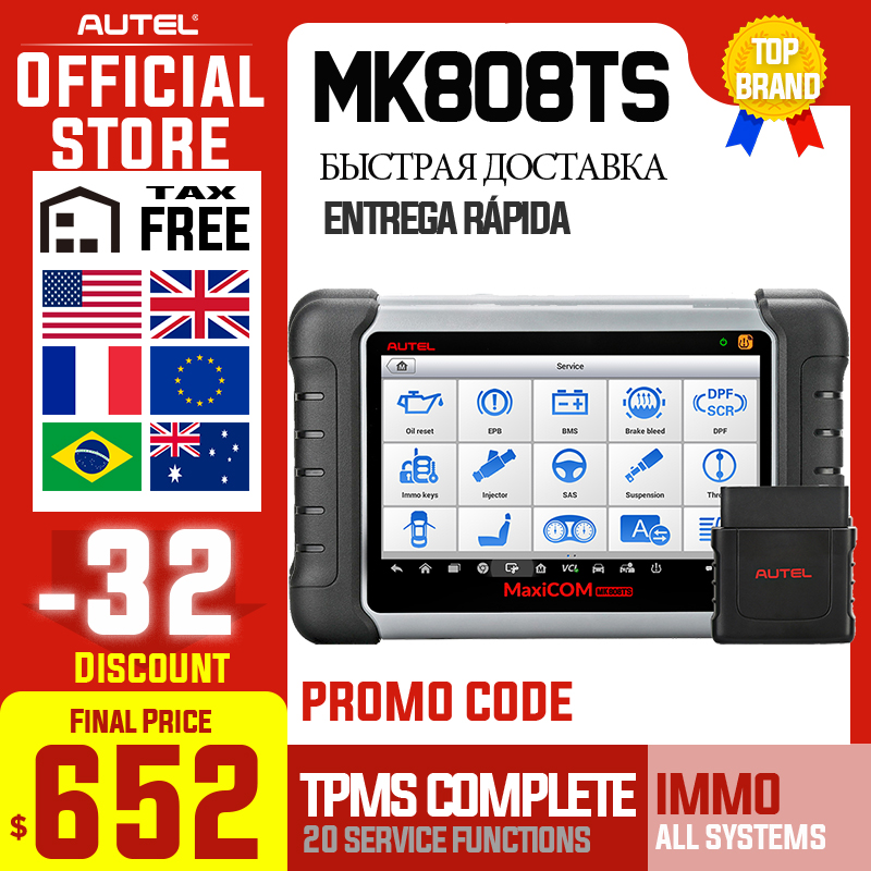 Autel MaxiCOM MK808TS OBD2 Bluetooth Scanner Car Diagnostic Tool OBD 2 Code Reader Programing TPMS Sensor PK DS808 MK808 TS608|maxidiag elite md802|maxidiag eliteautel maxidiag elite - AliExpress