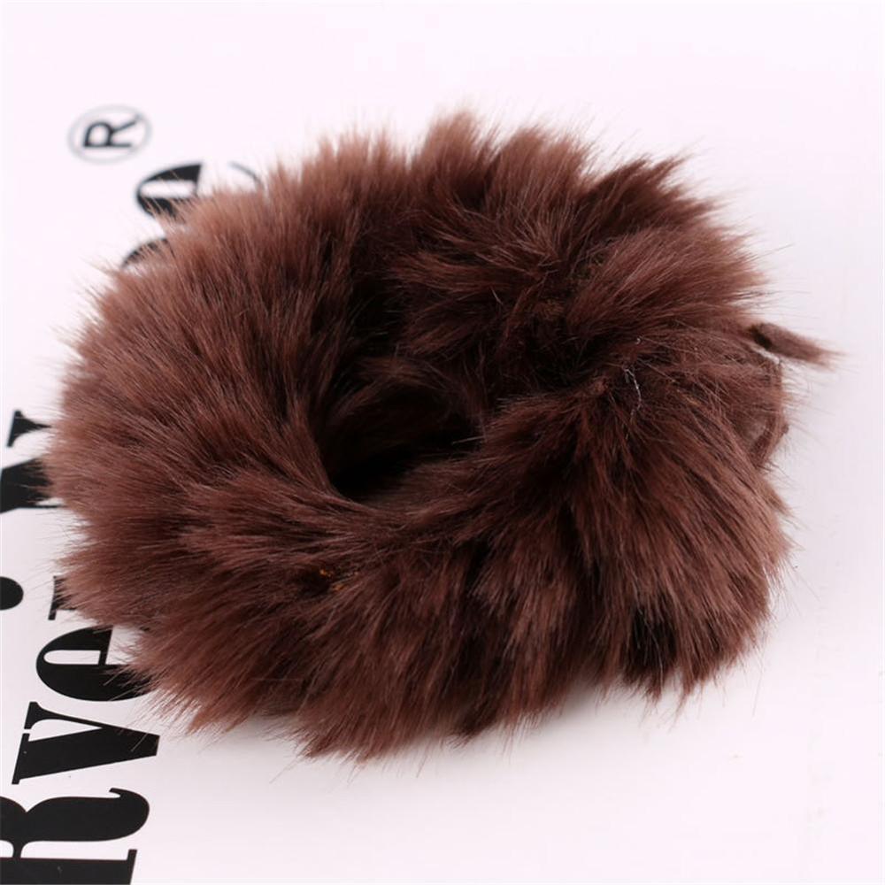 Новые зимние теплые мягкие резинки из кроличьего меха для женщин и девушек, эластичные резинки для волос, плюшевая повязка для волос, резинки, аксессуары для волос - Цвет: 45