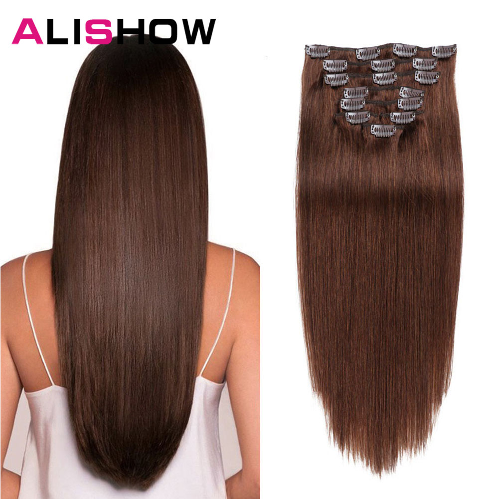 Alishow Clip In Human Hair Extensions Straight Full Head Set 7pcs 100g Machine Made Remy Hair Clip Ins 100% Human Hair Extension 1