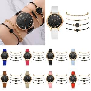 Casual Watch Bracelet Bead Stone Gold Women Fashion Ladies Quartz PU Chain Dress Decor
