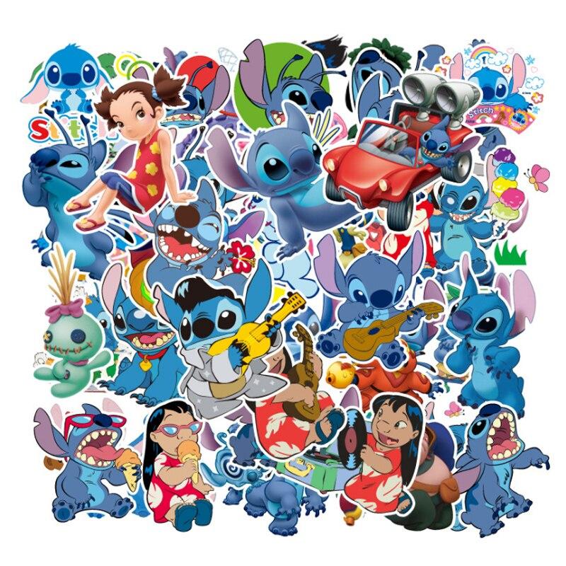 55 pièces classiques Lilo point Disney mignon dessin animé autocollants pour planche à roulettes moto bagages ordinateur portable guitare cahier jouet autocollant