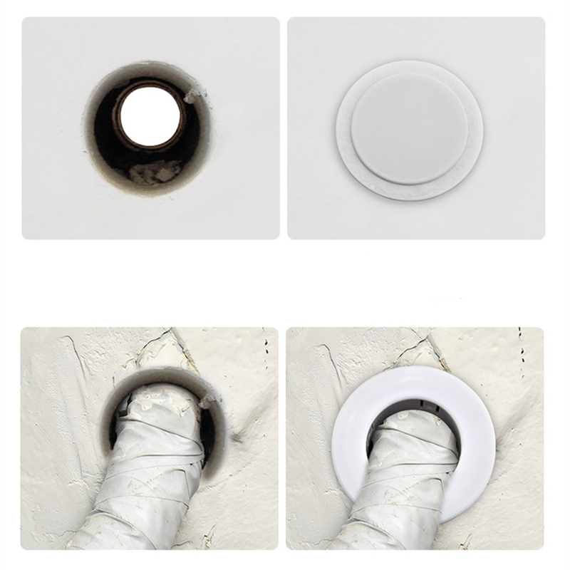 2pcs Air Conditioning Pipe Hole Decorative Cover Wall Hole Plug White Plastic For Pipe Hole Decorative Cover Shielding