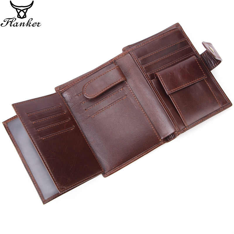 Flanker genuine cow leather men short wallet with coin pocket fashion brand man hasp purse splice designer card holder money bag