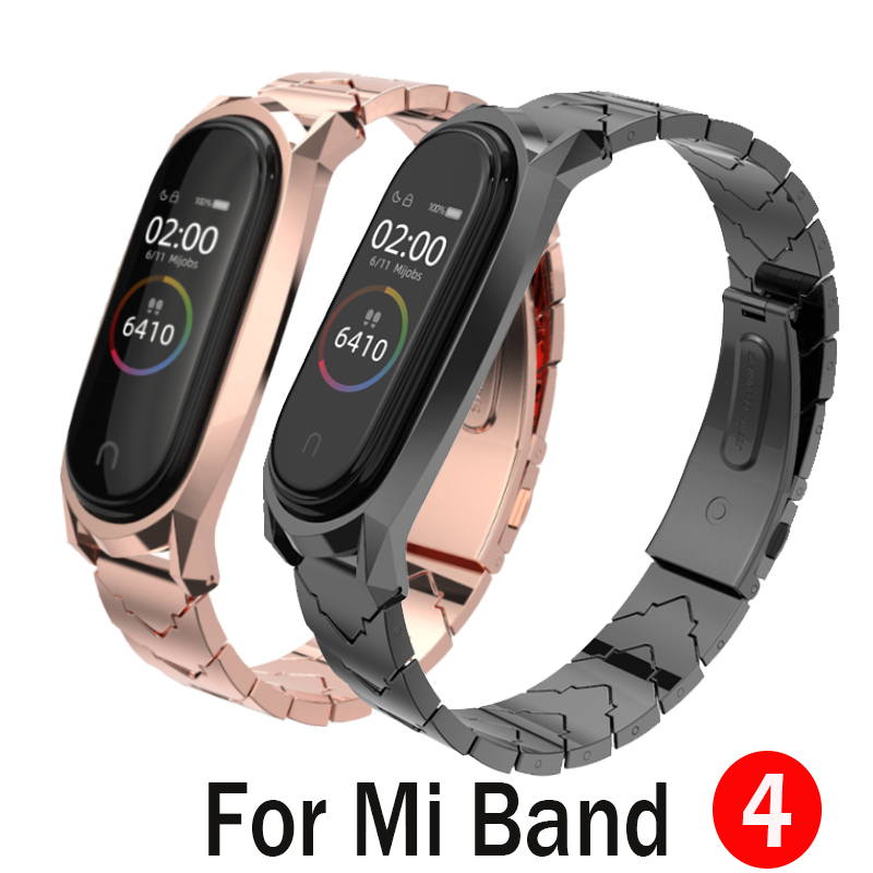Mijobs Metal Strap For Mi Band 4 Strap Screwless Stainless Steel Bracelet For Xiaomi Mi Band 4 Metal Replacement Strap