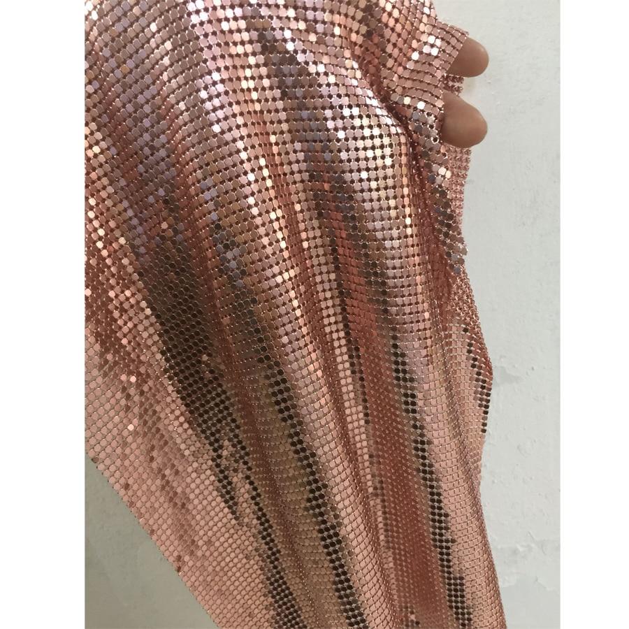 45*150CM Rose or métal maille tissu métallique tissu Sequin paillettes bricolage poupée ceinture couture tissu Cosplay robe décoration rideau