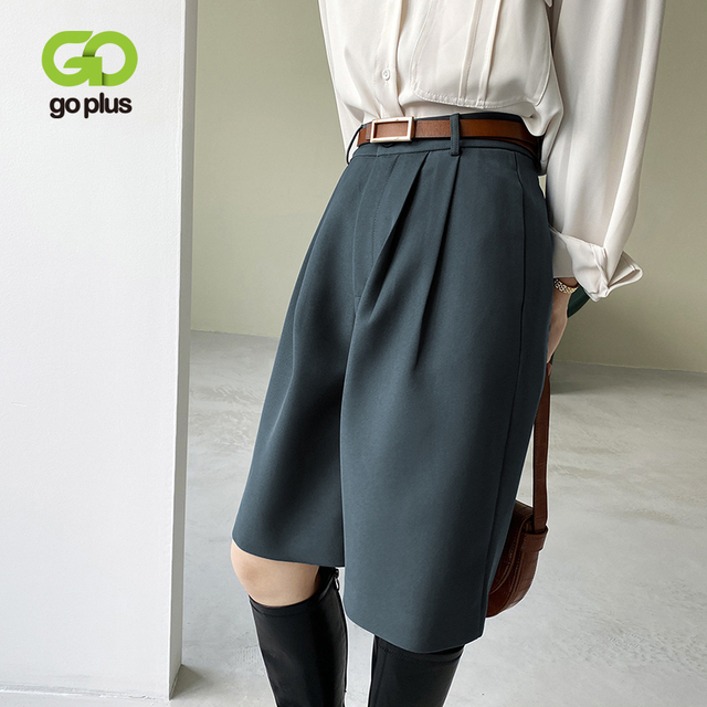 GOPLUS Woman Pants Vintage Straight Knee Length Trousers Women England Style High Waist Pants Pantalon Femme Spodnie Damskie 1