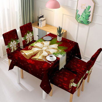 Mantel navideño para cocina, decoraciones para mesa de comedor, cubiertas de mesa de fiesta rectangulares para el hogar, adornos navideños para funda de silla