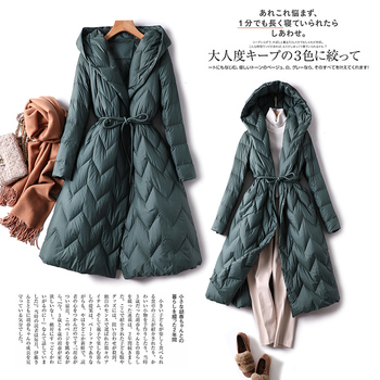 High Quality Coats and Jackets Women Solid Covered Button  Wide-waisted 90% White Duck Down Womens Warm Jacket green