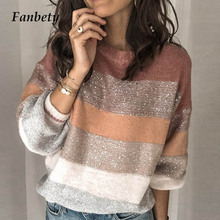 New Color Block Sequined Sweater Womens 2019 Autumn Long Sleeve Knitted Striped