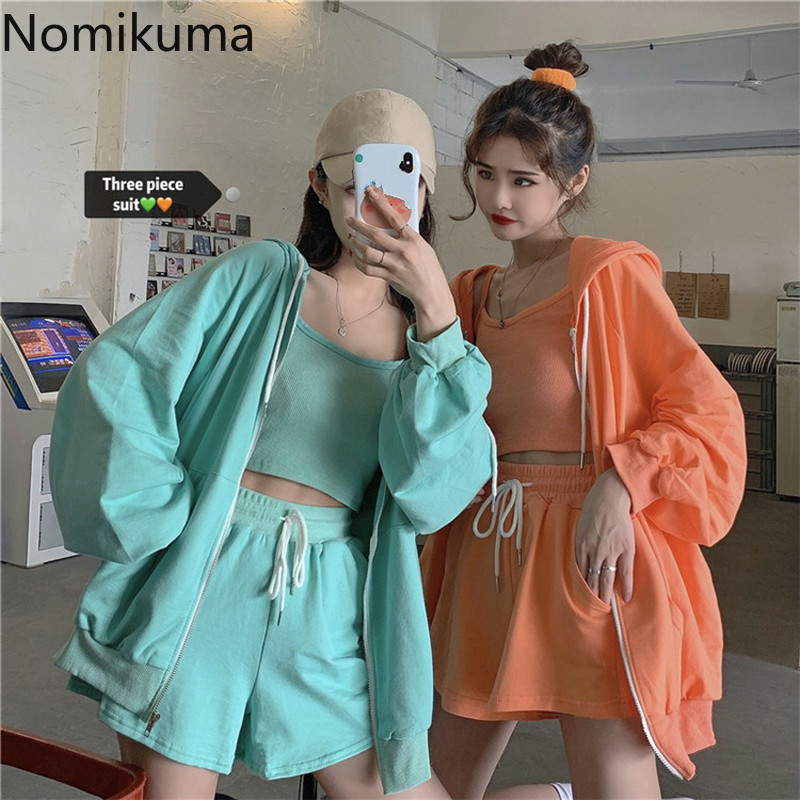 Nomikuma Casual Fashion Sweat Suits Women Zipper Hooded Coat Basic Camisole High Waist Shorts 2020 Summer Korean Outfits 3a966