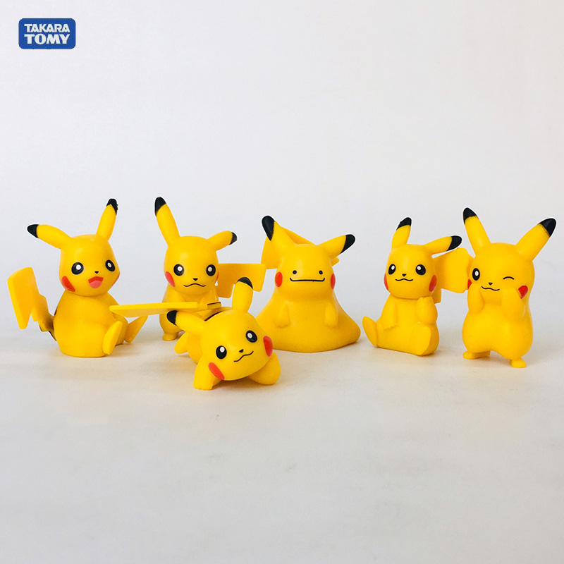 Takara Tomy 6PCS/set Pikachu Action Figure Pokemon Pikachu Elf Series Ball Children Toy Christmas Gifts image