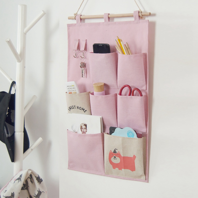 Home Bedroom Decoration 3/7 Grids Wall Hanging Storage Bag Wardrobe Organizer Toys Container Decor Pocket Pouch