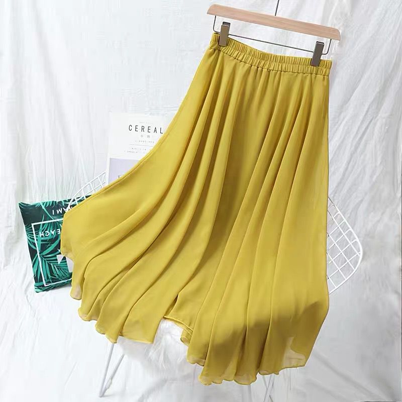 Summer Women Chiffon Long Skirts Solid All-Match Maxi Skirt Autumn Elegant Skirts Plus Size M-7XL Black Blue Pink Lavender 4.8