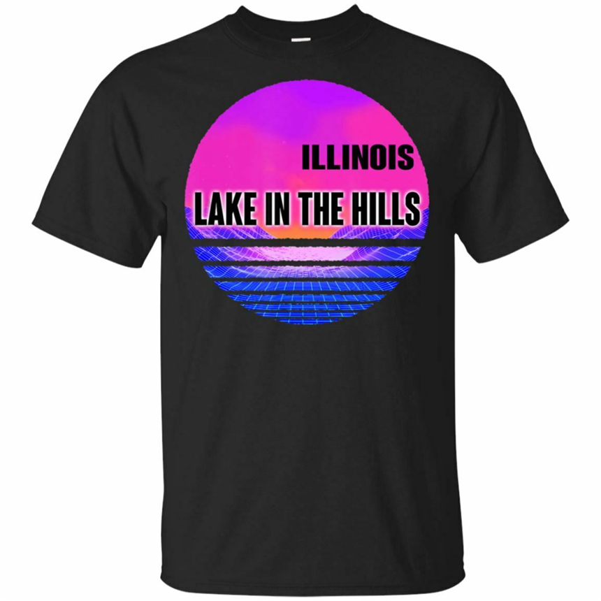 Vintage Lake In The Hills Shirt Vaporwave <font><b>Illinois</b></font> Black, Navy T-Shirt Outdoor Weartee Shirt image