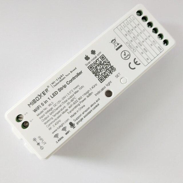 Miboxer wl5 5 em 1 led controlador wi fi para rgb rgbw rgb cct única cor conduziu a luz de tira amazon alexa voz telefone app remoto