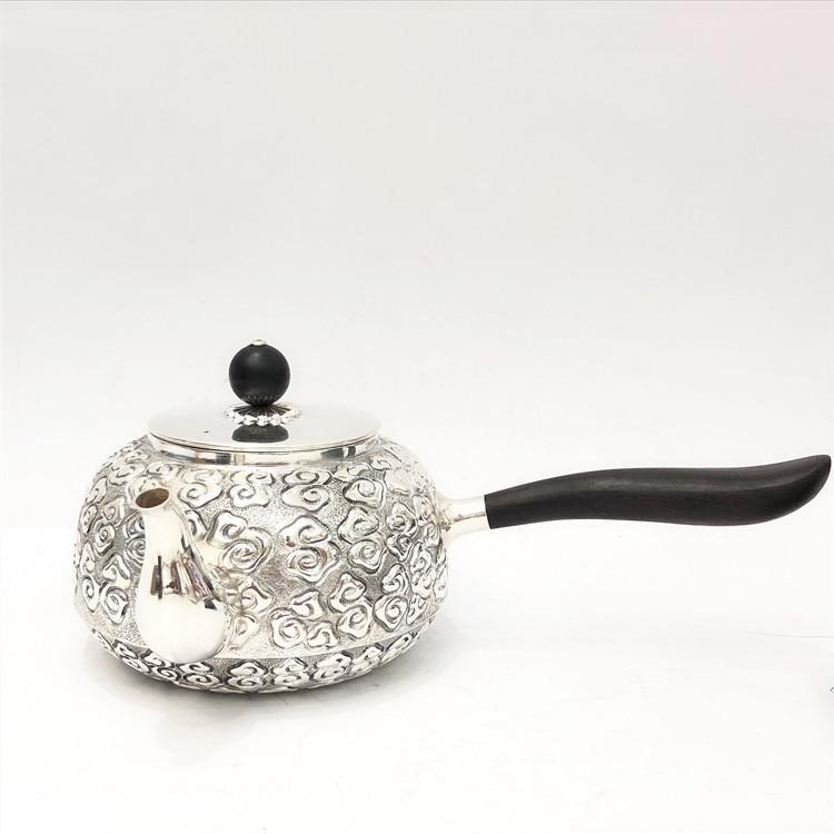 Side Handle Xiangyun Pure Silver Teapot Foot Silver 999 Manual Silver Teapot Pure Silver Teapot Kung Fu Teapot