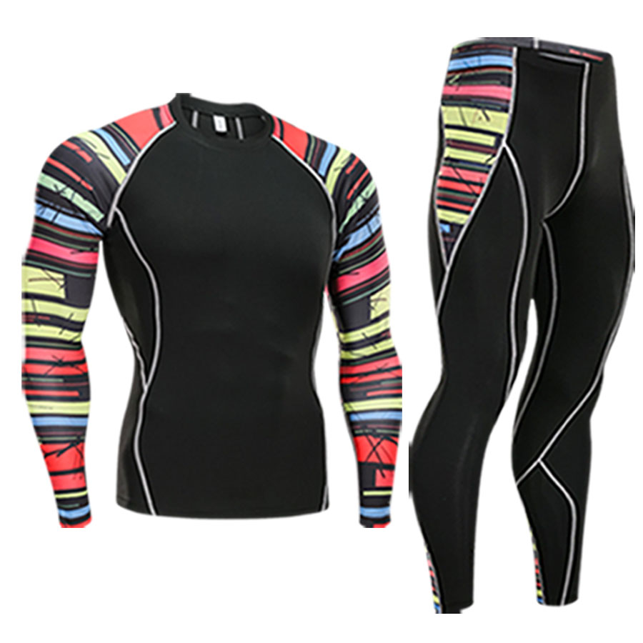 New Brand Men 3D Print Sports Suit Tight Compression Sports Suit For Men Rashguard MMA Bodybuilding Top Fitness Sports Set in Trainning Exercise Sets from Sports Entertainment