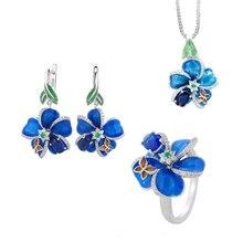 KOFSAC Latest Hot Women 925 Sterling Silver Jewelry Sets Enamel Flower Butterfly Dark Blue Zircon Necklace Pendant Earrings Ring