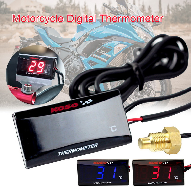 Motorcycle Digital Thermometer Water Temperature  Meter with Backlight Display Motorcycles Thermometer Voltmeter Timer Hot