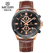 Men's Watches Stopwatch Date Luminous Hands Genuine Leather 30M Waterproof Clock Man Quartz Watches Men Fashion Watch цена