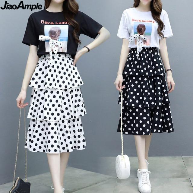 Summer Big Size Slim T-shirt Skirts Set for Women 2021 New Girl Student Sweet Print Polka Dot Dress Fashion Ribbon Bow-knot Tops 1