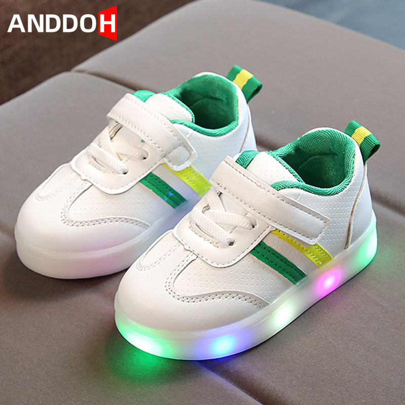 Size 21-30 Children's Backlight Hook Loop Led Light Up Shoes Luminous Sneakers For Baby Glowing Shoes Kids Sneakers With Lights