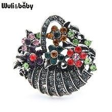 Wuli ve bebek taklidi çiçek sepeti kadınlar için Metal renkli çiçek düğün rahat broş Pins hediyeler