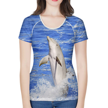 Nopersonality Ocean Style Dolphin Print T Shirts for Women Unique Female Ladies Tops
