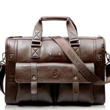 Мужской кожаный черный портфель, деловая винтажная сумка, сумка для ноутбука, повседневная сумка-мессенджер, вместительная сумка через пле...