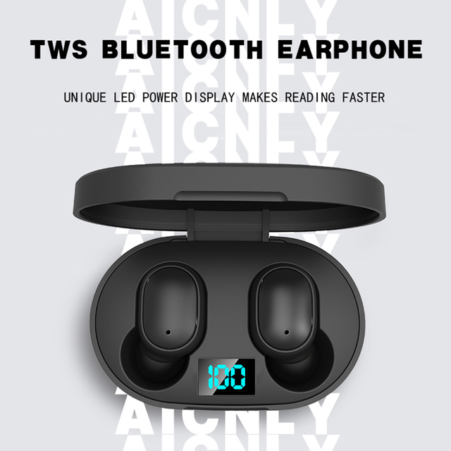 TWS Wireless Earphone For Redmi Earbuds LED Display Bluetooth V5.0 Headsets with Mic For iPhone Huawei Samsung