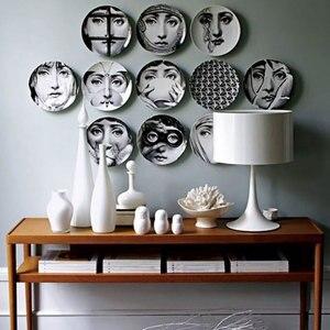 Фарфоровые декоративные тарелки для настенного подвесного украшения посуды для гостиной, стола, костяного фарфора, тарелки для дома, отеля,...