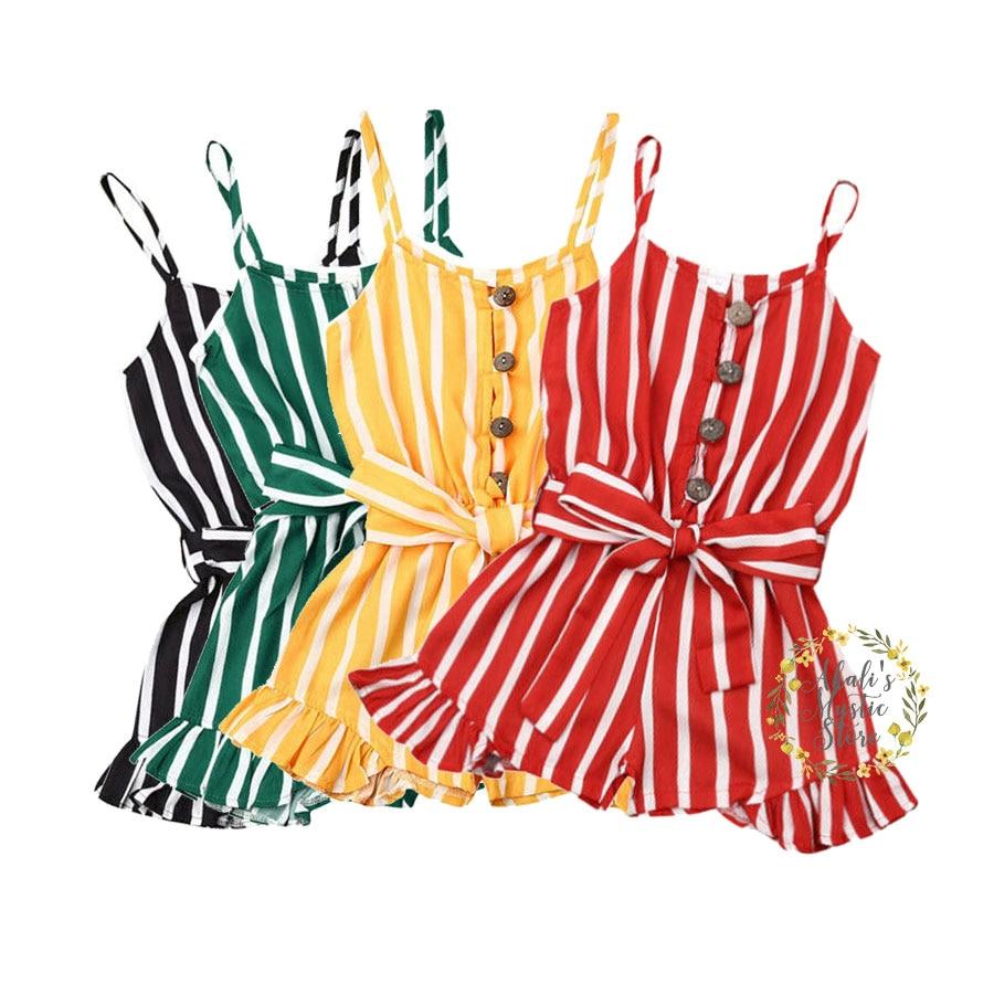 3-8Years Kid Girls Striped Jumpsuit Summer Girls Sleeveless Overalls Playsuit Children Costumes Red Black Blue