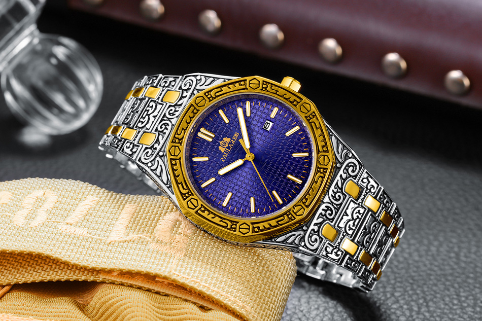 H4c367b28786e43b49d9147ea25d78fb2R Men Carved Antique Vintage Luminous Rose Gold Yellow Gold Silver 2 Tones Fashion Blue Classic Quartz luxury watch