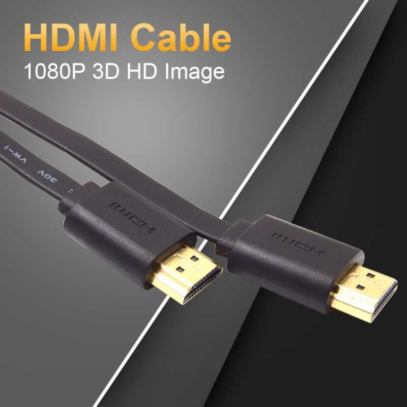 1.5 m Cavo HDMI Piatto Intrecciato Schermatura Placcato Oro Spina del Cavo Per X-Box Lettore DVD HDTV Proiettore