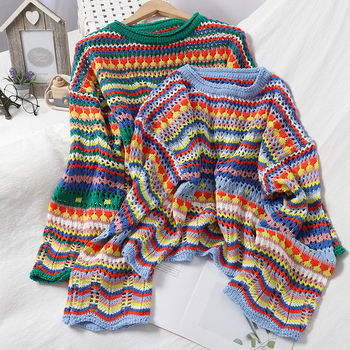 Autumn girl color striped collared sweater hollow Korean top  Knitted Sweater Women Long Pullovers Striped Loose