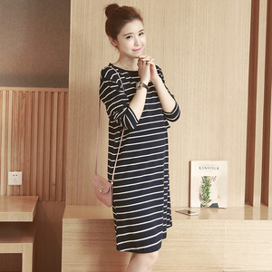 Image 5 - 2019 Spring Autumn Nursing Dress Breastfeeding Maternity Clothes For Pregnant Woman Cotton Striped Lactation Long Dress