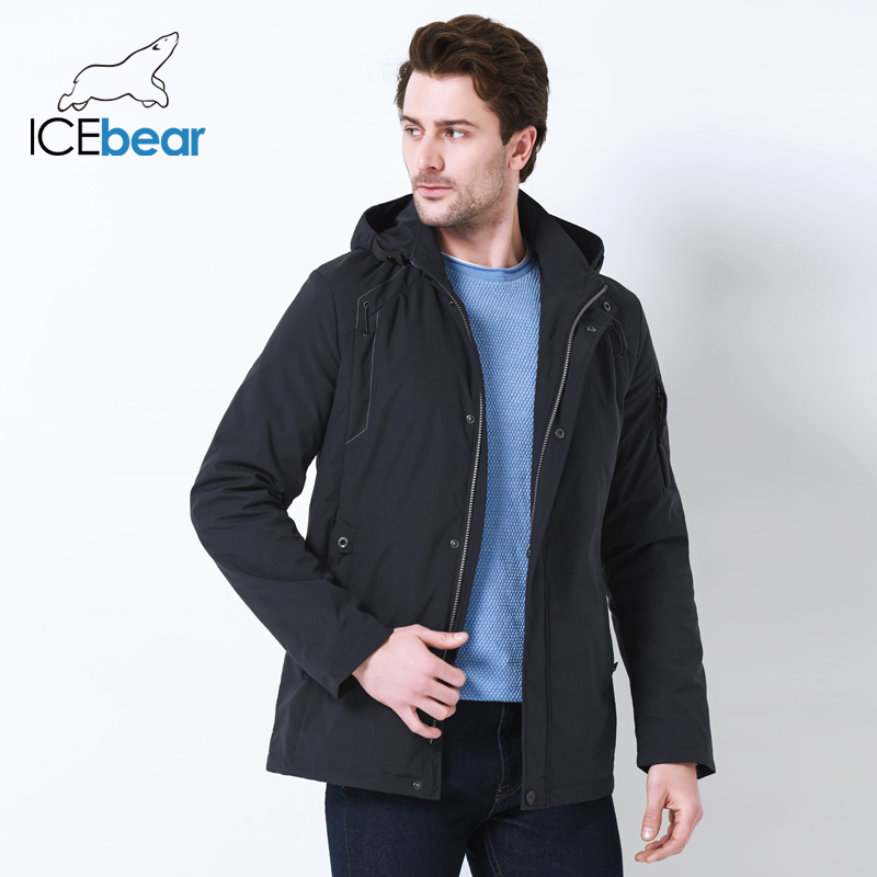 ICEbear 2019 Autumn Mid-Long Jacket Men Large Pocket Design Windproof Thin Stand Collar Simple Handsome Coat MWC18120D
