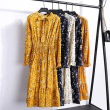 Frauen Herbst Floral Print Midi Lange Kleid Elegante Büro Dame Chiffion Kleider Weibliche Kleid Vestidos