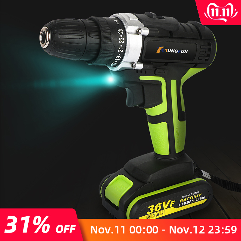 36VF 8000mAh 2 Batteries Electric Drill LED 25-speed Waterproof Cordless Drill Electric Torquing Screwdriver